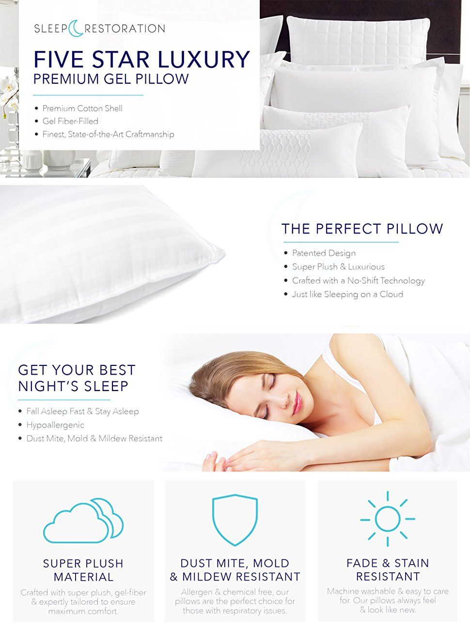 Sleep Restoration Gel Pillow 2 Pack Queen Best Hotel Quality