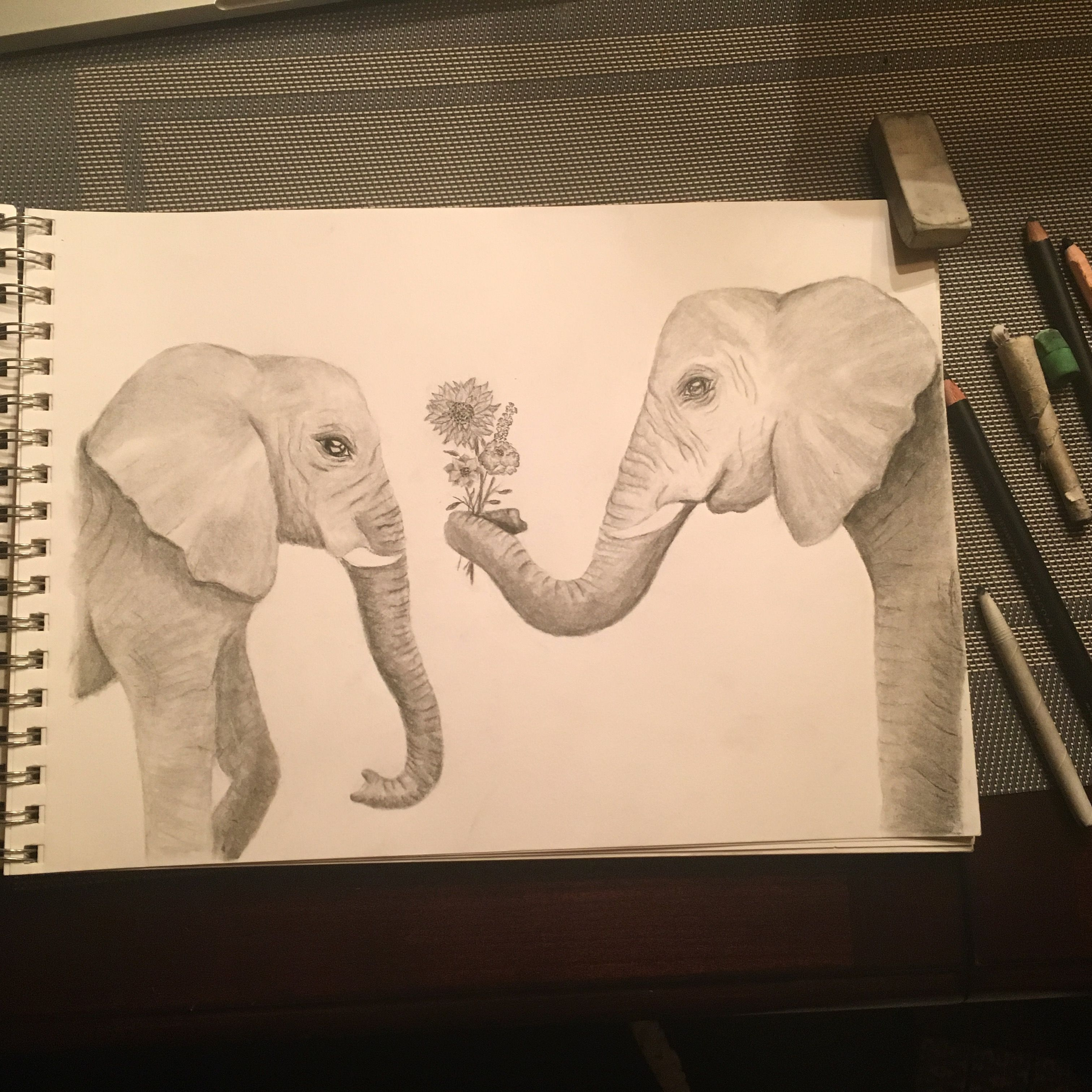 Elephants sketch from charcoal