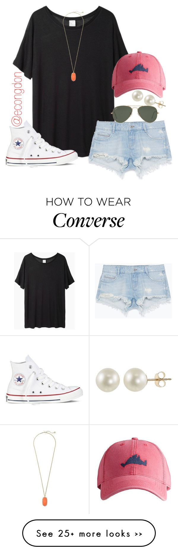 """""""basically the same as my last set but different colors"""" by econgdon on Polyvore featuring Base Range, Harding-Lane, Zara, PearLustre by Imperial, Ray-Ban, Converse and Kendra Scott"""