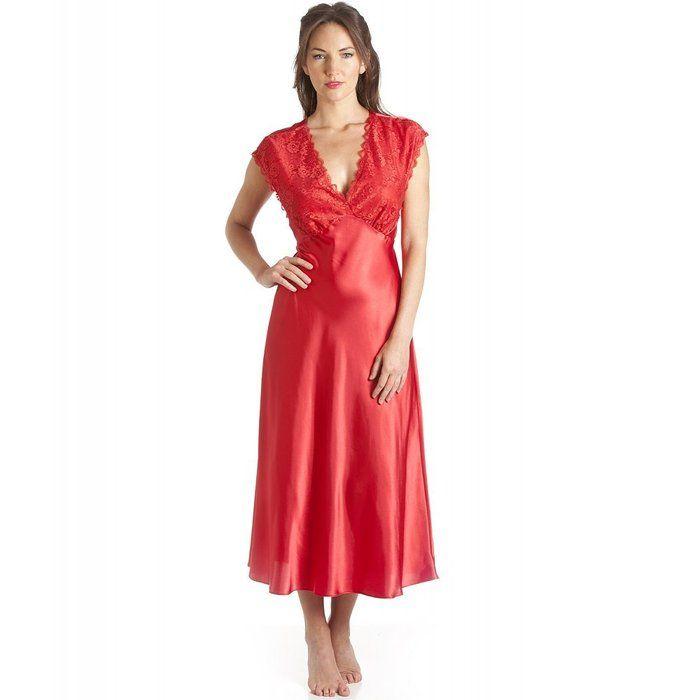 Camille - Damen Nachthemd - Luxuriös mit Spitze - Rot 42/44