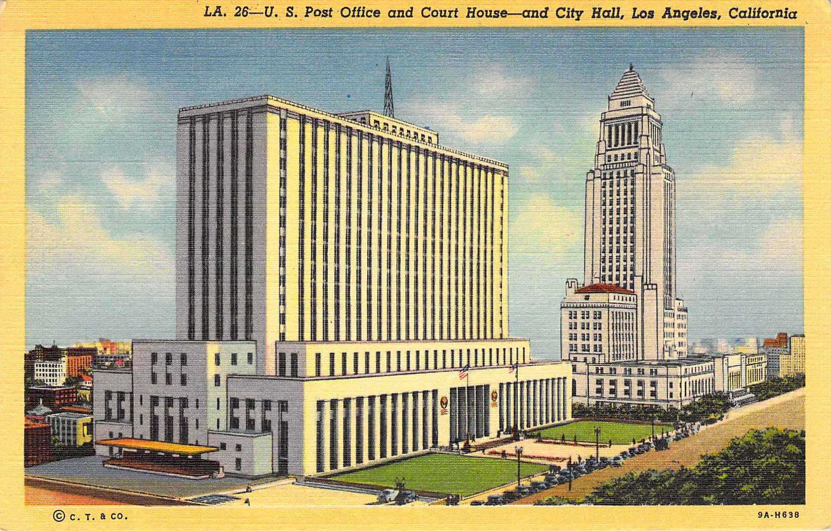 U S Court House City Hall And Post Office Los Angeles Ca Post Office Los Angeles California Art