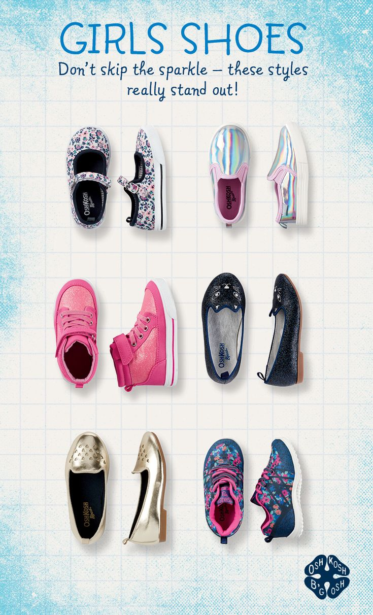 6e51d9a894e5 Get them off on the right foot with a shoe fit for every day of the week.  New girls styles this season  Iridescent slip-ons glow with anything