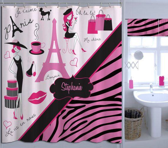 Fabric Paris Shower Curtain Bathroom Decor Elegant Zebra Print