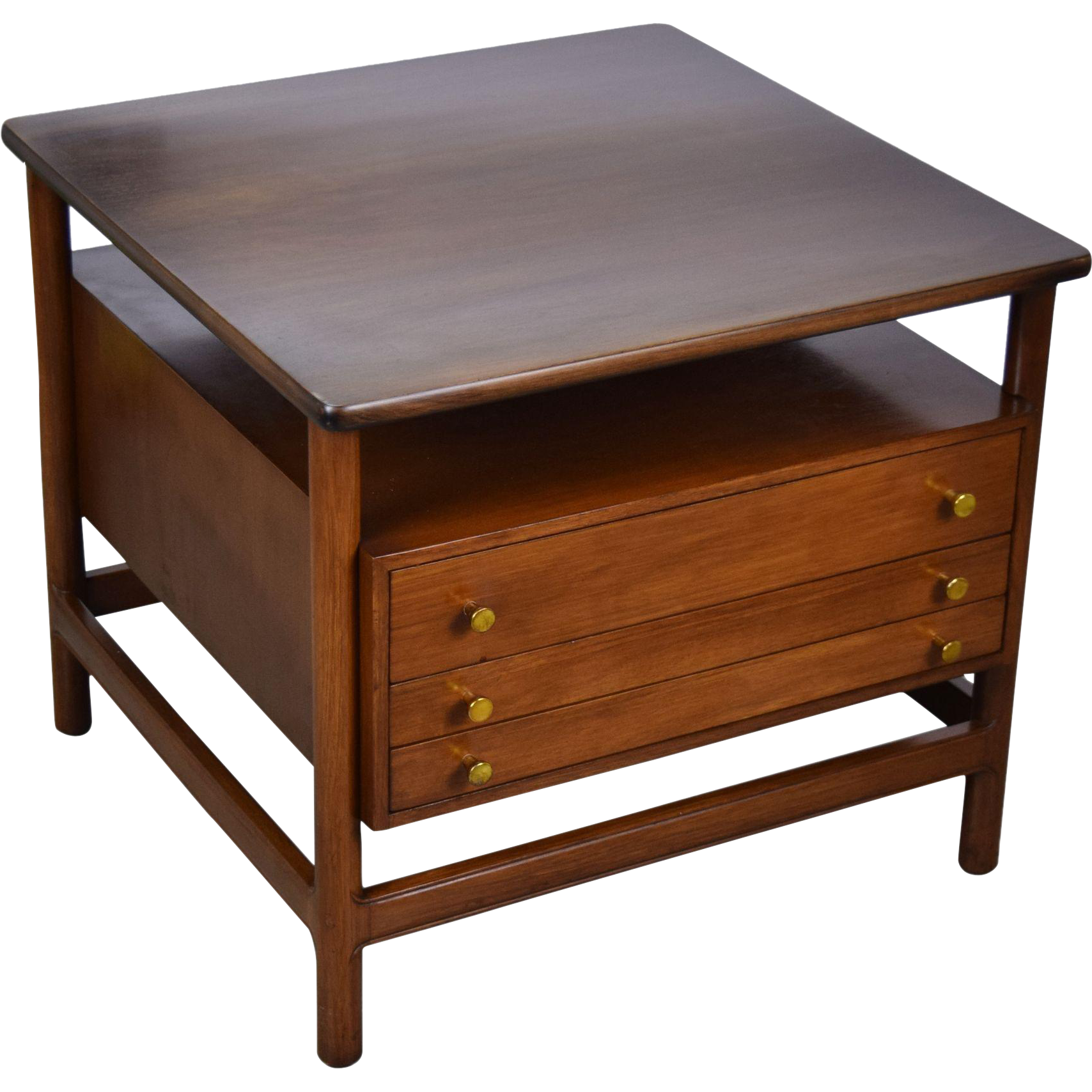 Awesome Vintage Mid Century Modern John Widdicomb 3 Drawer End Table Concealing A Pair Of Folding Snack Tables Behind Faux Fronts