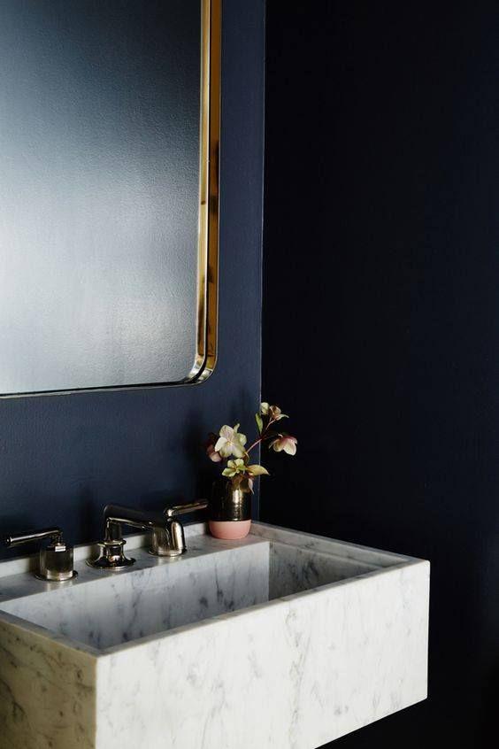Marbre Lavabo Marbre Salle De Bain Boudoir Bleu Salle De Bain Art Deco Murs Bleu Fonce