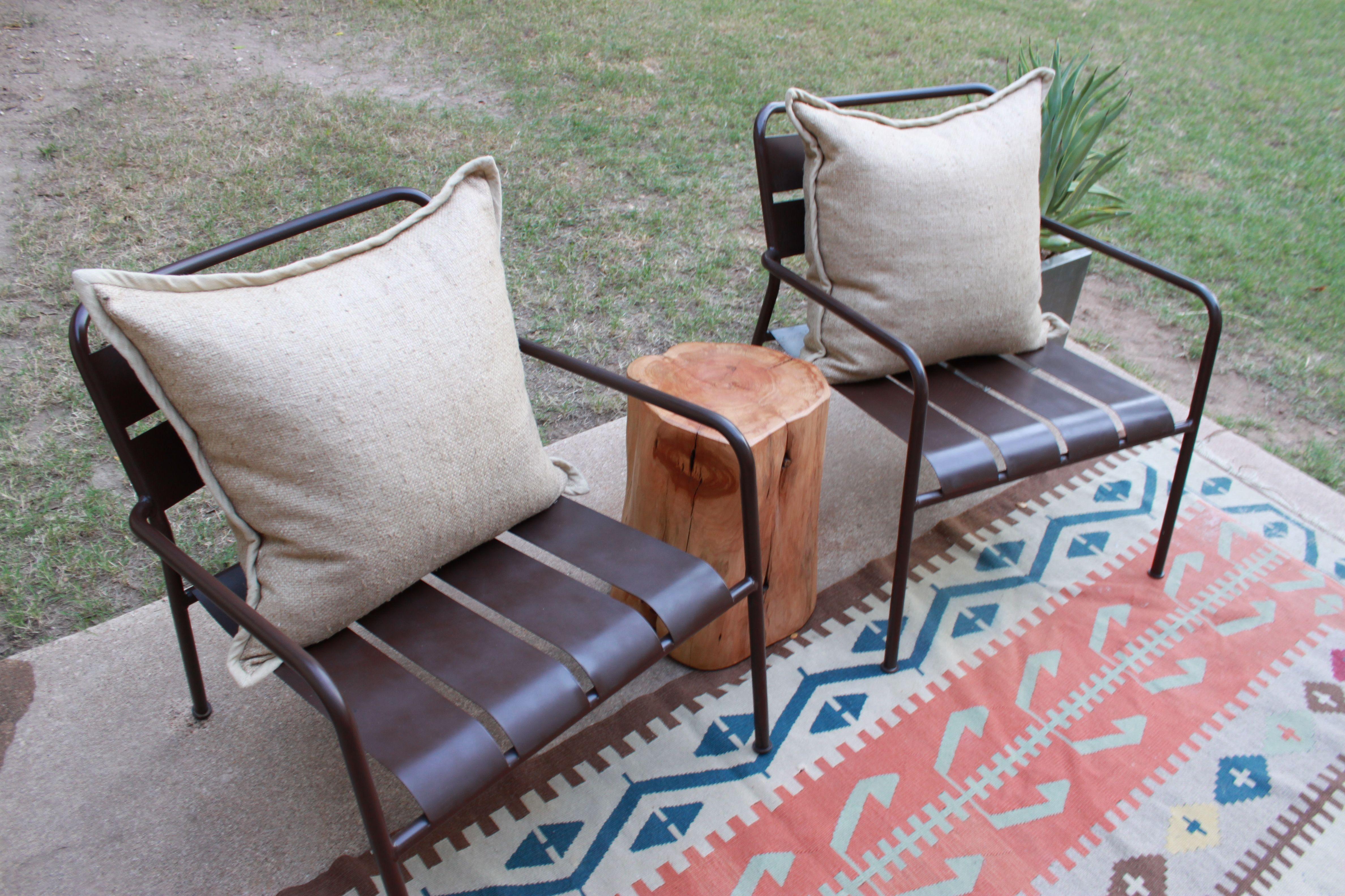 Metal Ikea Chairs Painted Brown