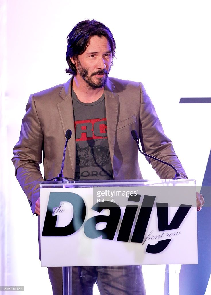 COVERAGE Actor Keanu Reeves speaks onstage during The Daily Front Row 'Fashion Los Angeles Awards' 2016 at Sunset Tower Hotel on March 20, 2016 in West Hollywood, California.