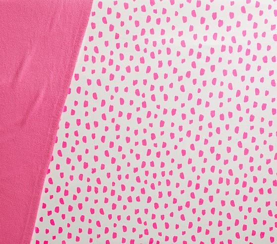 Organic Neon Pink Brushstroke Dot Fitted Crib Sheet Crib