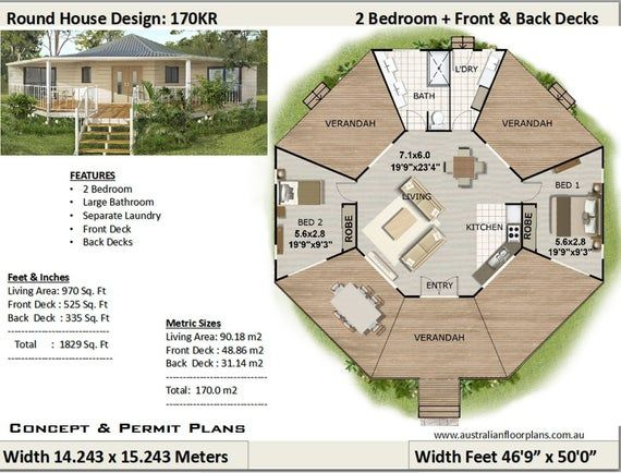 round home house plans Living 970 sq feet or 90 m2 2 Bedroom 2 bed granny flat small home design