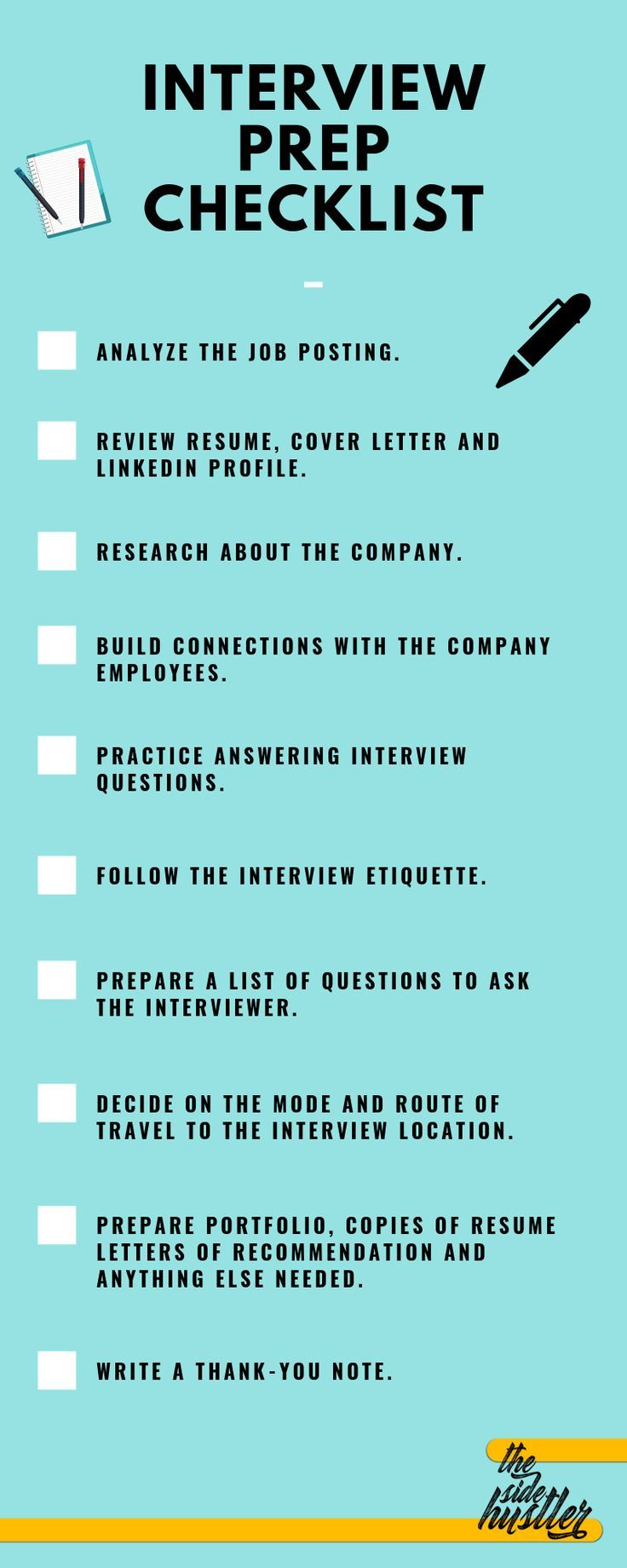 The complete checklist you need when preparing for your