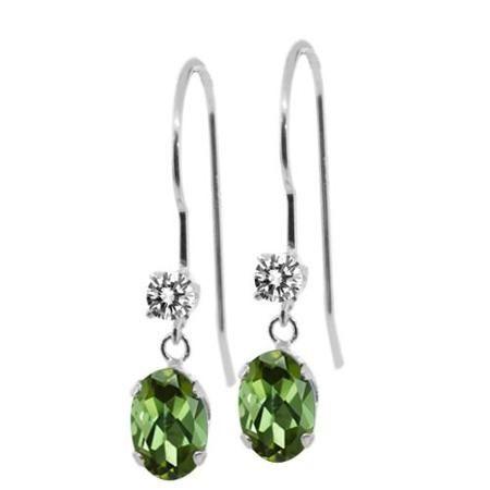 0 93 Ct Oval Green Tourmaline White Diamond 14k White Gold Earrings