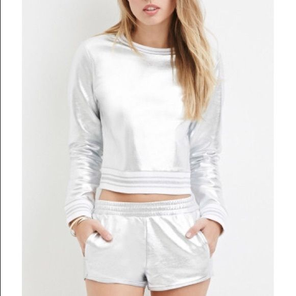 Forever 21 Silver Sweatshirt Brand: F 21        Size: S         New with tag Forever 21 Tops Sweatshirts & Hoodies