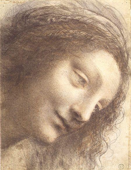 The Head Of The Virgin In Three Quarter View Facing Right Leonardo