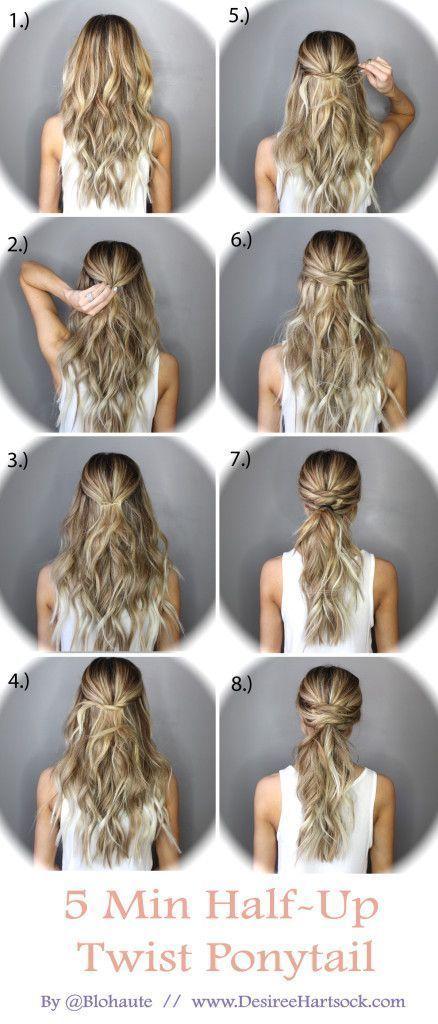 5 Minute Half Up Ponytail Twist hair long hair braids diy hair hairstyles hair tutorials easy hairstyles #hairtutorials
