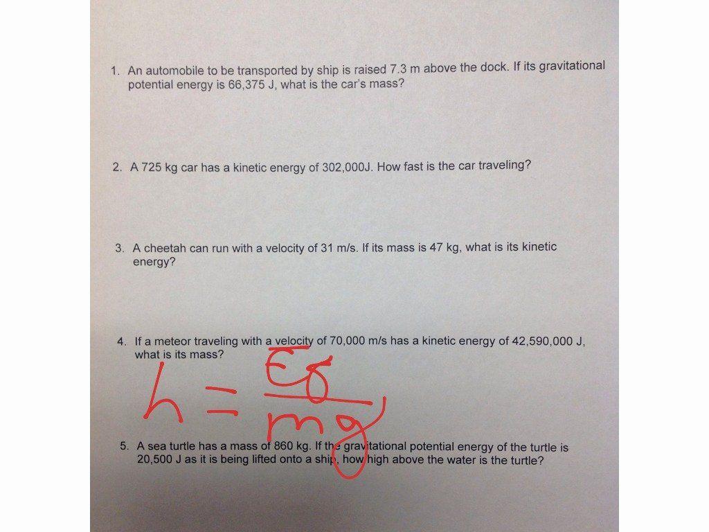 Potential Versus Kinetic Energy Worksheet Lovely