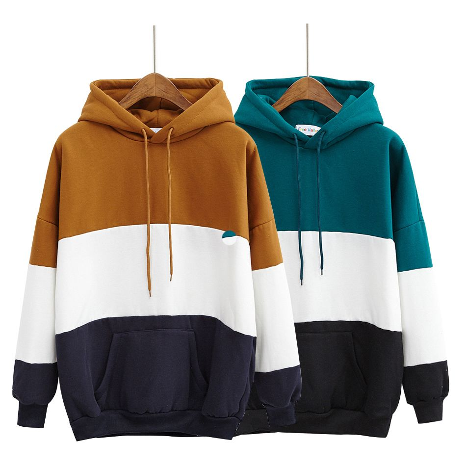 Women Kawaii Patchwork Thickening Fleece Harajuku Sweatshirt ...
