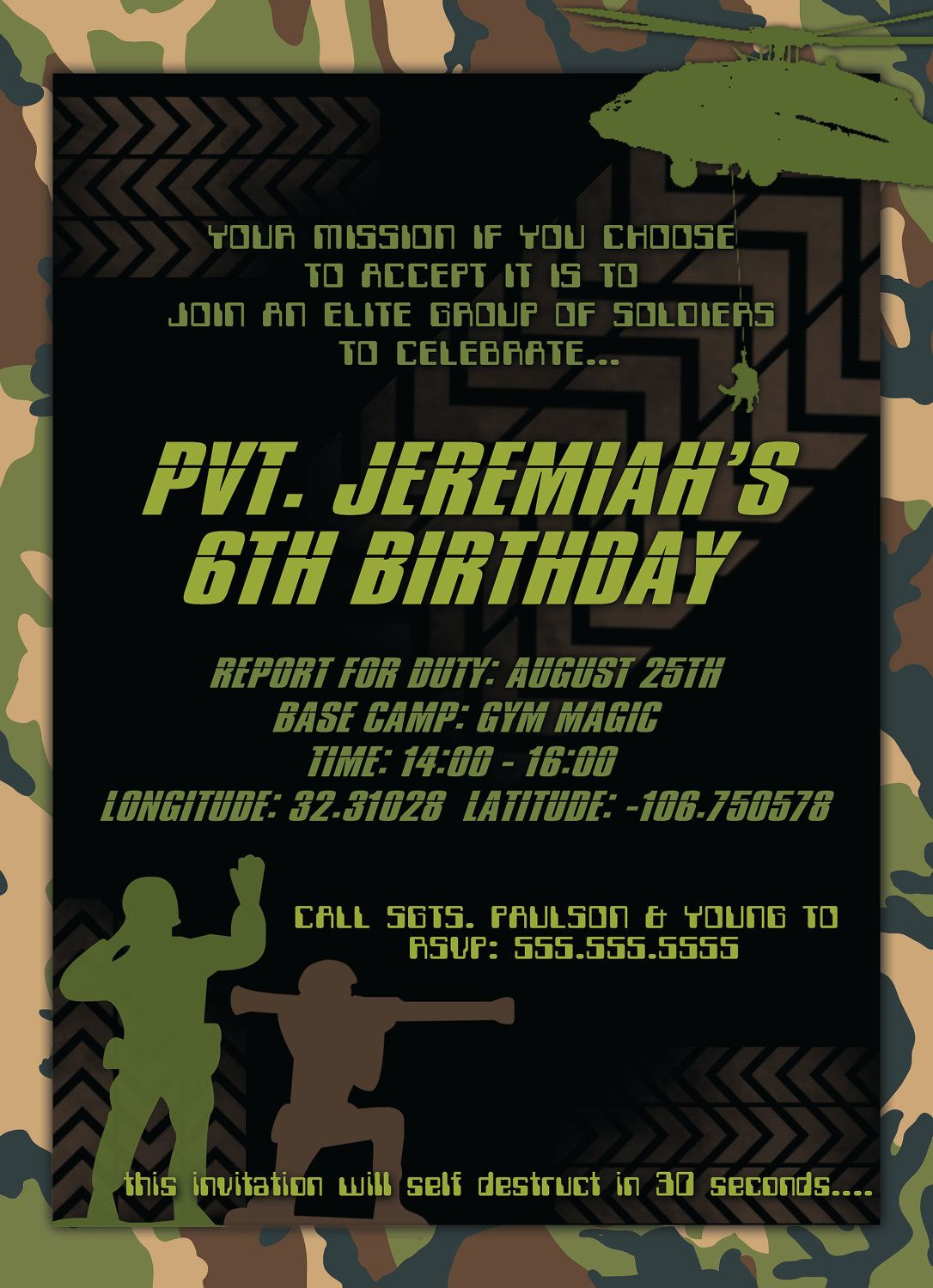 Army Men Birthday Boy Party Invitations DIGITAL by TheFunkyOlive ...