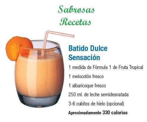 BATIDO DULCE SENSACIÓN.- 1 medida de fórmula 1 sabor Frutas Tropicales. 1 melocotón fresco. 1 albaricoque fresco. 250 ml. de leche semidesnatada. 3-6 cubos de hielo (opcional). APROXIMADAMENTE 330 CALORIAS. http://www.jpcdesayuno.blogspot.com/
