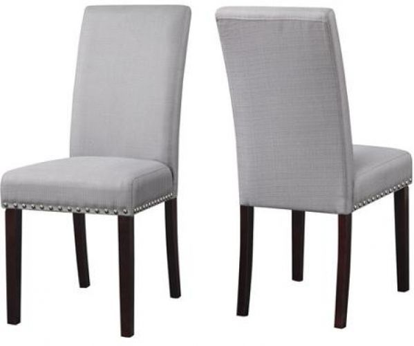 Upholstered Dining Chairs Set Of 2 Nail Head Chair Light Gray Grey