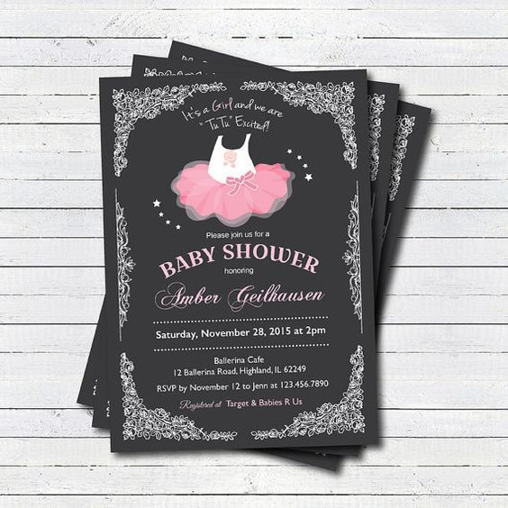 Ballerina Tutu Baby Girl Shower Invites, First Birthday Tutu Outfits And  Matching Birthday Invites Plus DIY How To Make Tutu U0026 Party For The Budget  ...