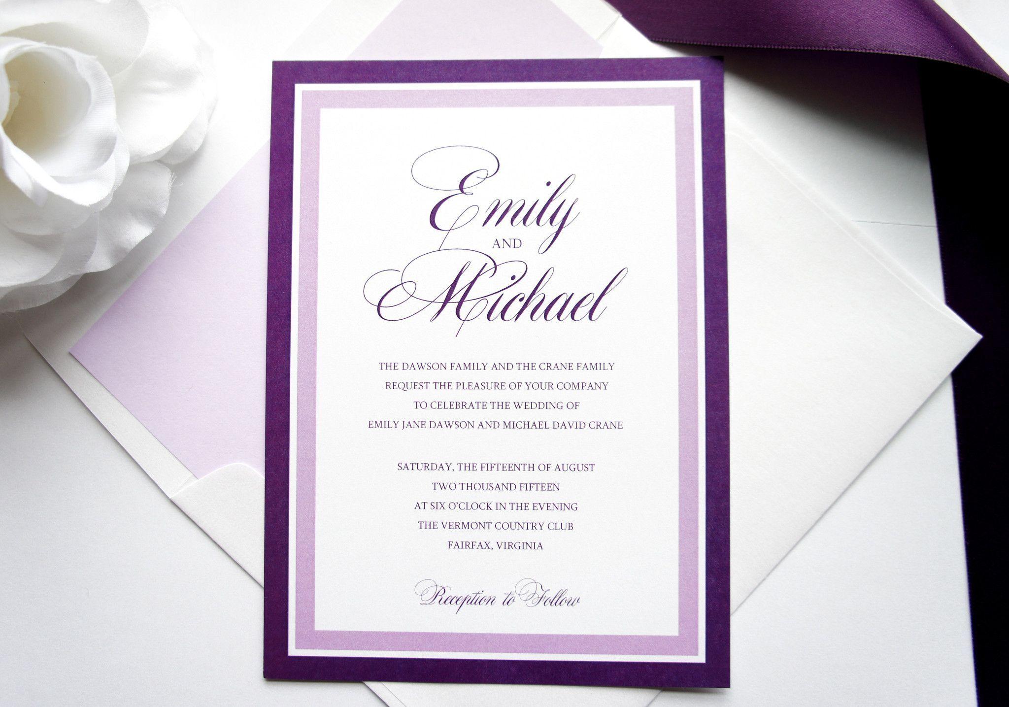 Purple Wedding Invitation Sample Set Great
