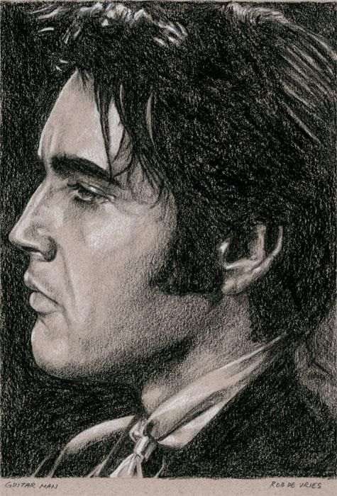 Guitar Man, 2013 Charcoal and Chalk on colored paper. ca. 15 x 21 cm. http://www.elvis-art.com