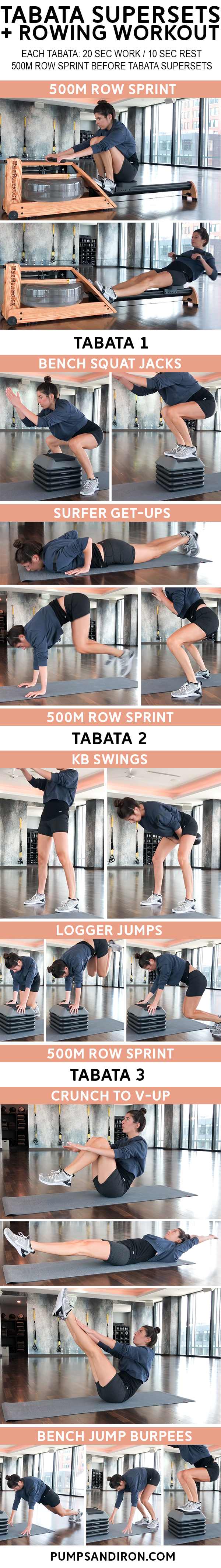 Rowing Tabata Supersets Workout Health And Fitness Pinterest Superset Circuit Leg Up On Not Sure What To Do At The Gym Give This Quick A Try Youll Need Rower Stepper Kettlebell Mat