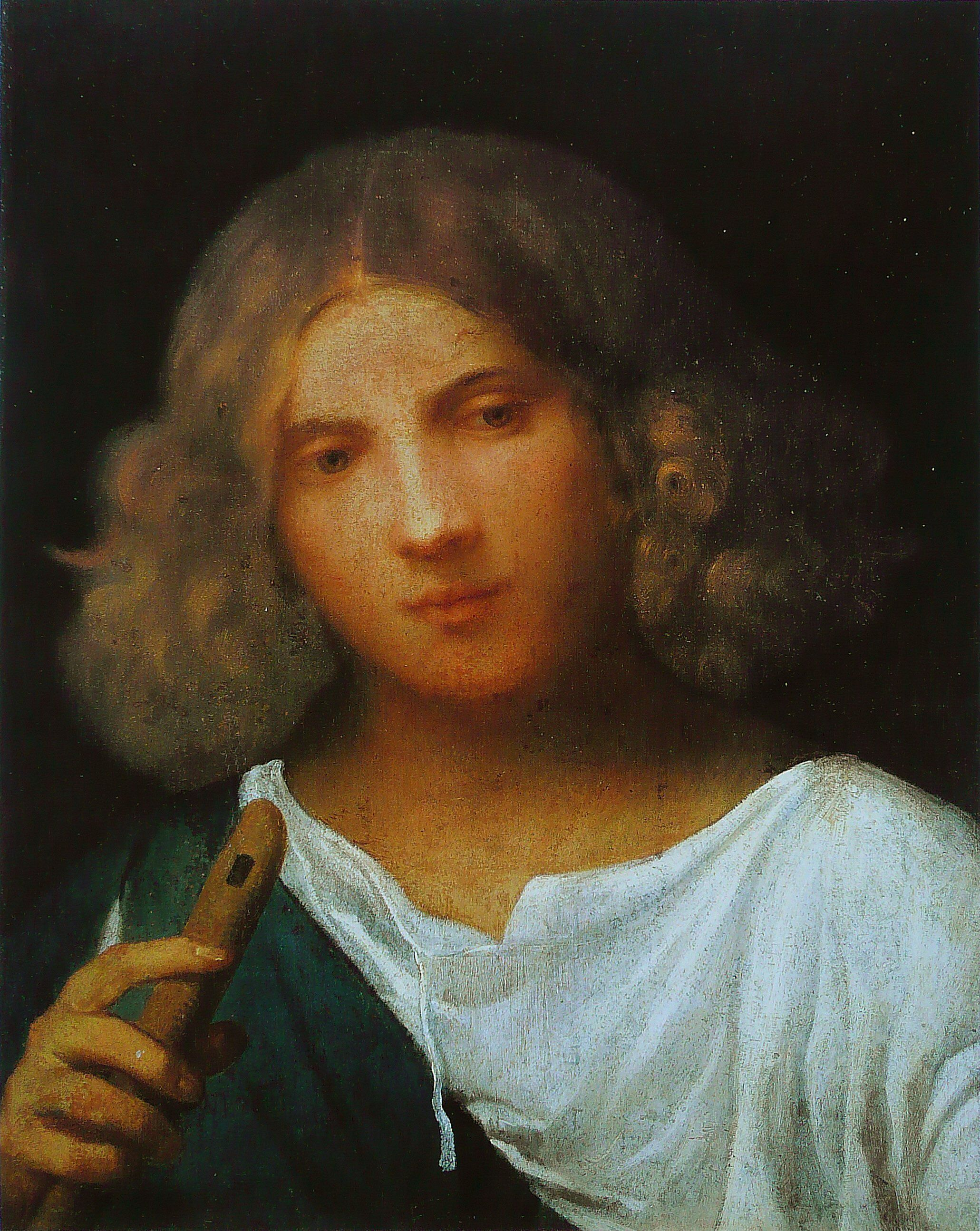 Giorgione, (Italian 1477–1510) [High Renaissance] Boy with Flute, 1508. Hampton Court, London.