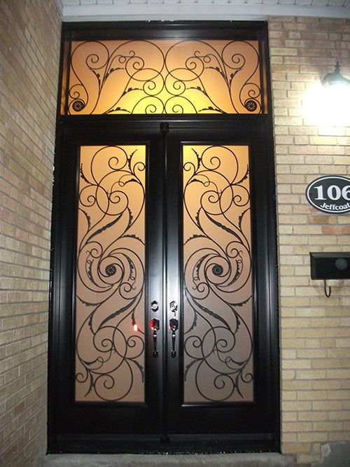 Windows and Doors Toronto-Wrought Iron Fiberglass Double Doors with Transom \u0026 multi Point Locks installed by Windows and Doors Toronto in Hamilton & 12-Serefina Design Doors with Stained Glass and Transom ... Pezcame.Com