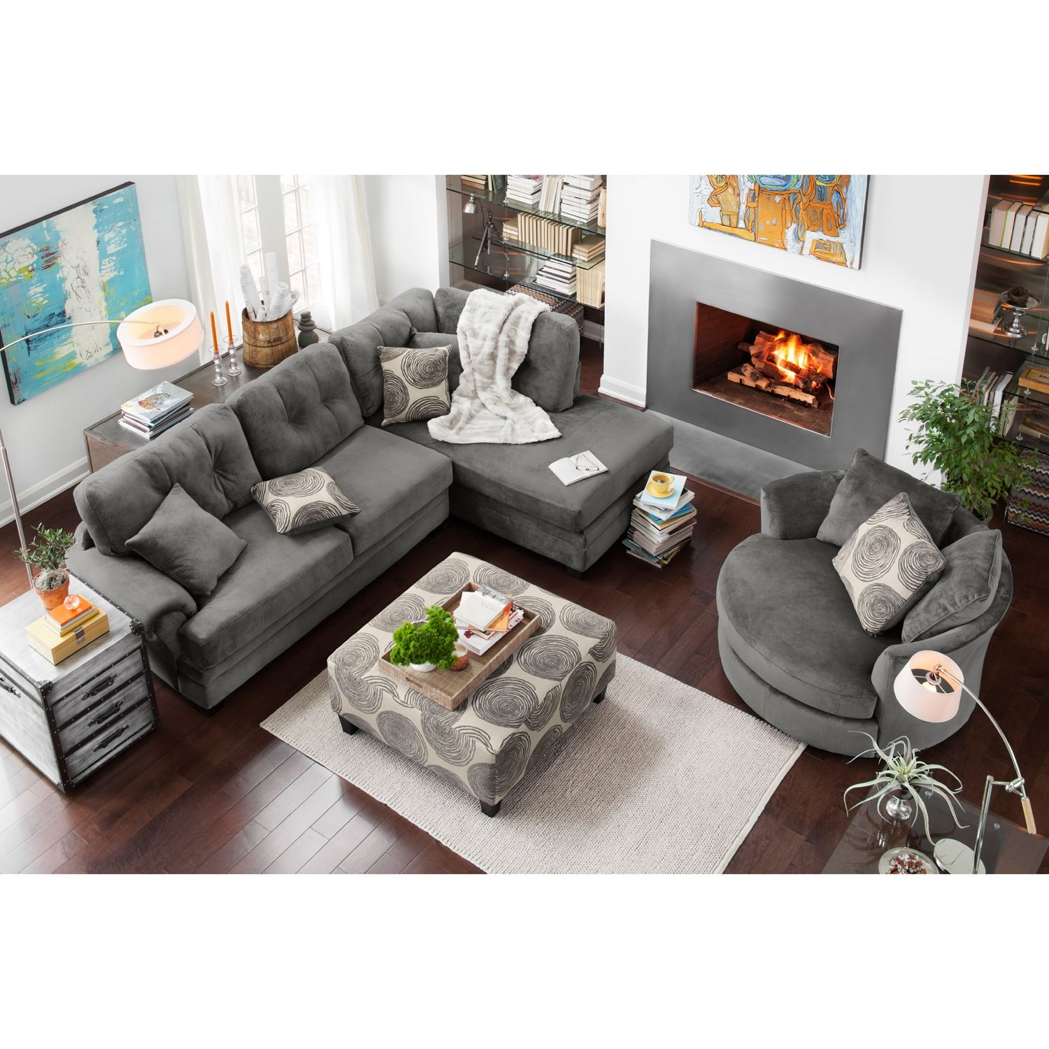 Value City Furniture Living Room Cordelle 2 Piece Right Facing Chaise Sectional Gray Value City
