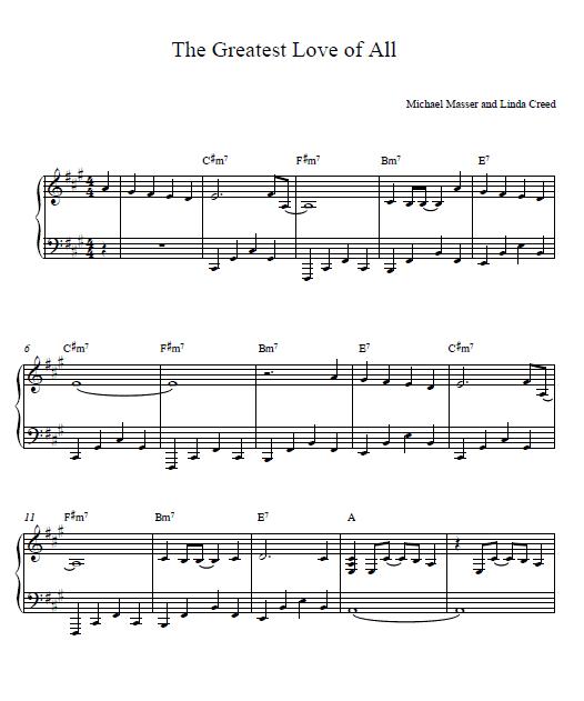Abba Piano Sheet Music Easy: The Greatest Love Of All Whitney Houston Piano Sheet