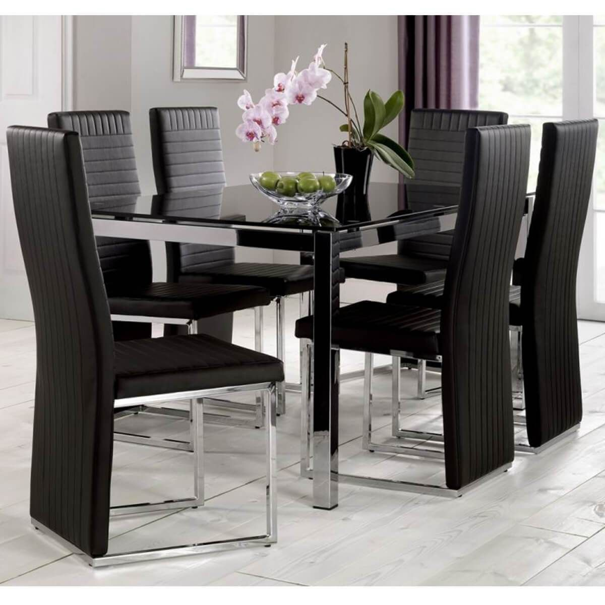 Create A Modern And Stylish Look In Your Dining Room With Our Tempo Black Glass Dining Set A R Black Glass Dining Table Dining Table Chairs Glass Dining Table