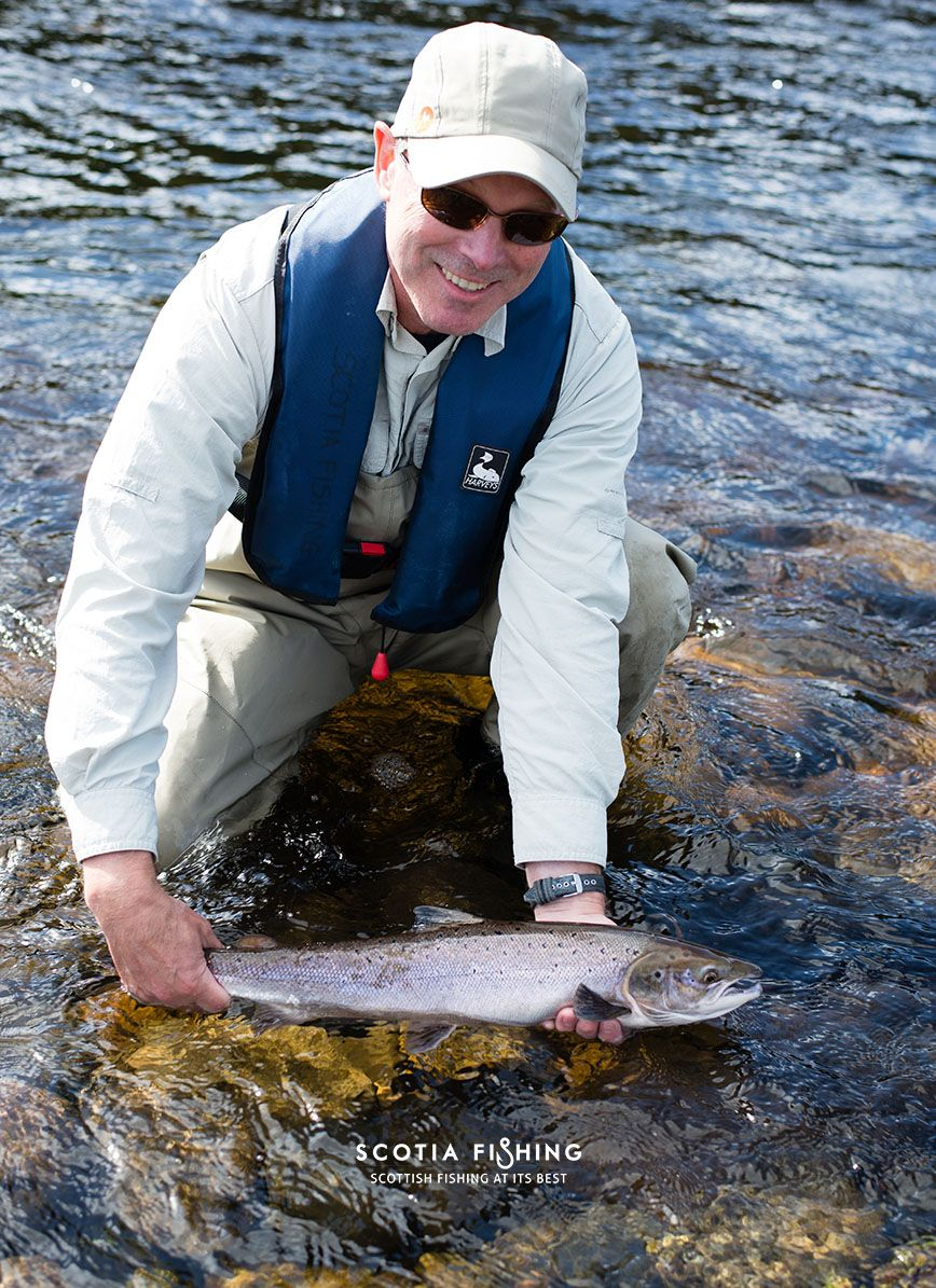 Gordon from B.C with a nice #Salmon (Grilse) from the River Tay in Scotland..  http://scotiafishing.com/packages/salmon-fishing-scotland/
