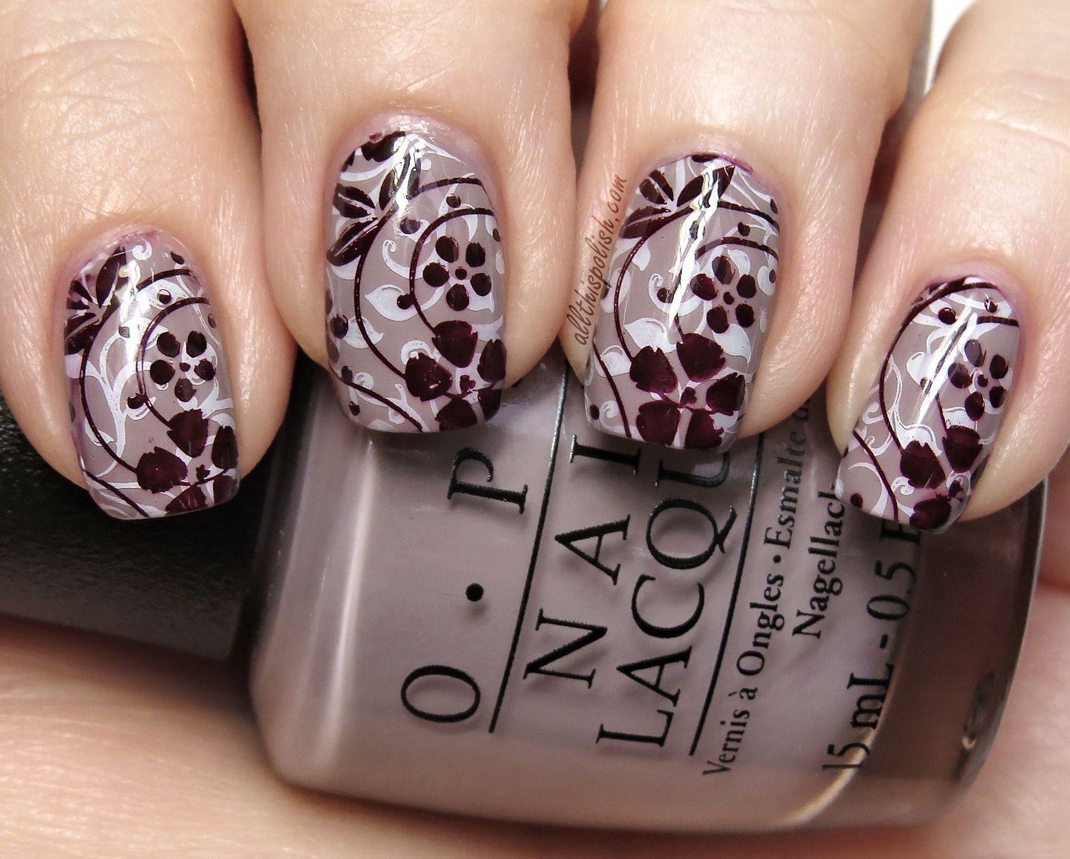 Nail Art Ideas stamp nail art : Pretty Glass Nail Art Effect Over Stamping Using Powder Perfect ...