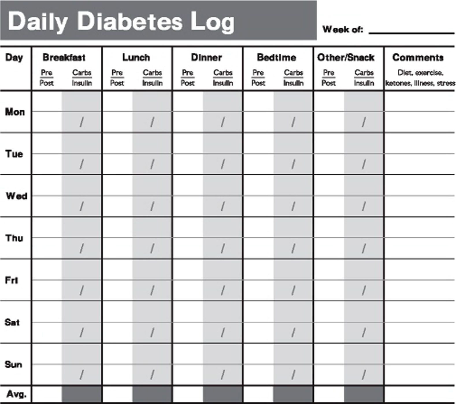 printable diabetes testing log book tracking your test results by