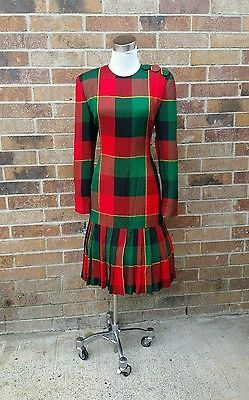 f6f5d07f33290 Christmas Holiday party evening Dress color block plaid red green,black  small 6