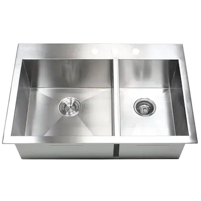 Kingsman Hardware Zero Radius Drop In 33 In X 22 In Stainless Steel Double Offset Bowl 3 Hole Kitchen Sink Lowes Com Double Bowl Kitchen Sink Sink Steel Kitchen Sink