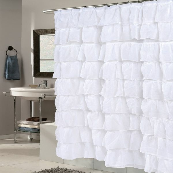 Elegant White Crushed Voile Ruffled Tier Shower Curtain | decor ...