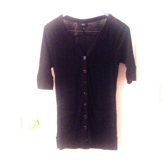 Black Cardigan Black longer length cardigan with black and silver buttons and front pockets. massimo Tops