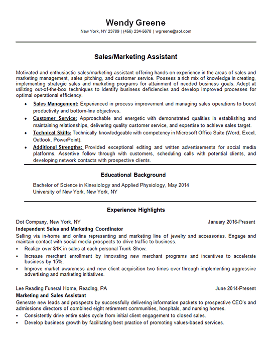 Marketing Assistant Resume Examples Marketing Resume Sales Resume Examples