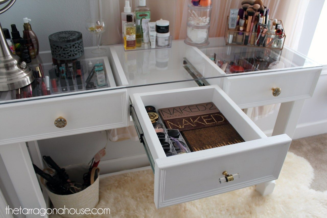 Diy Glass Top Makeup Vanity Vanity In 2019 Diy Vanity Table