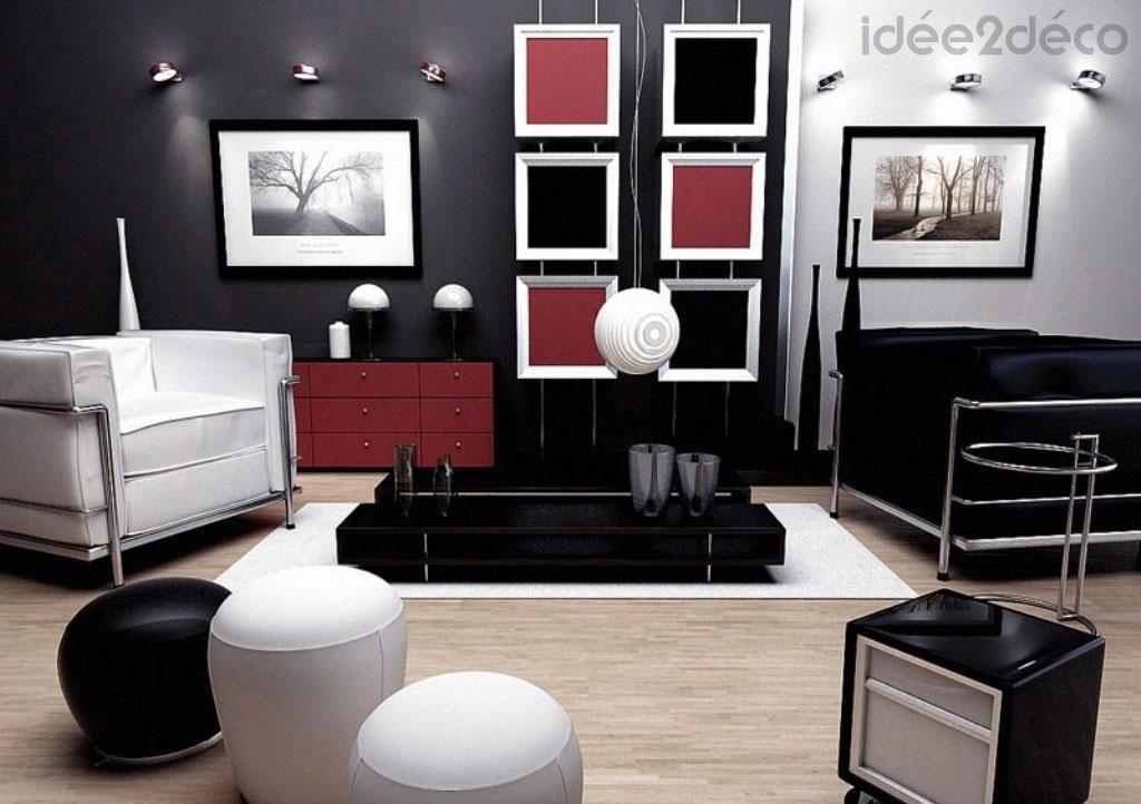 Une déco de salon en rouge, noir et blanc | Salon ...