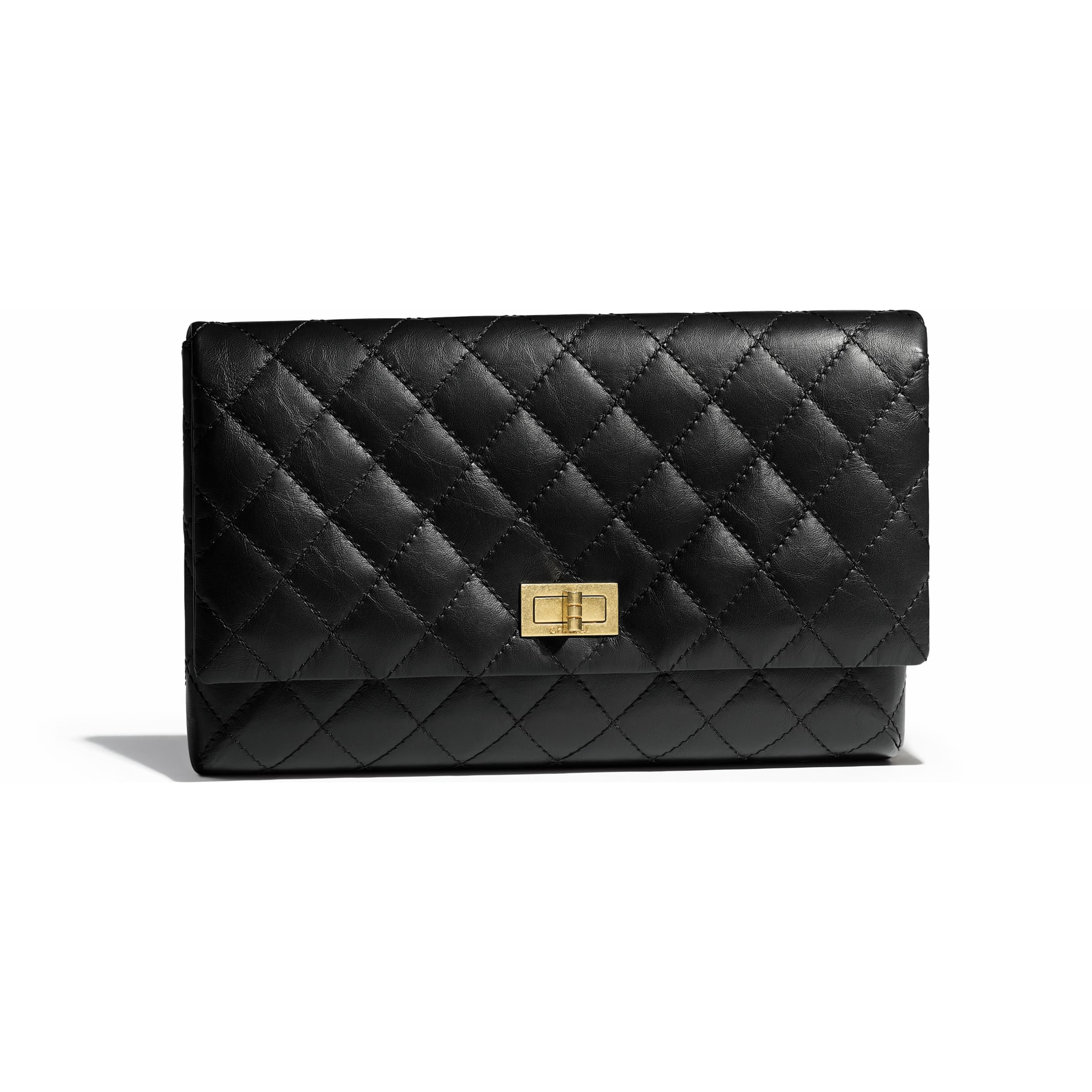6c9a36a714 Aged Calfskin & Gold-Tone Metal Black Clutch   CHANEL   Bags ...