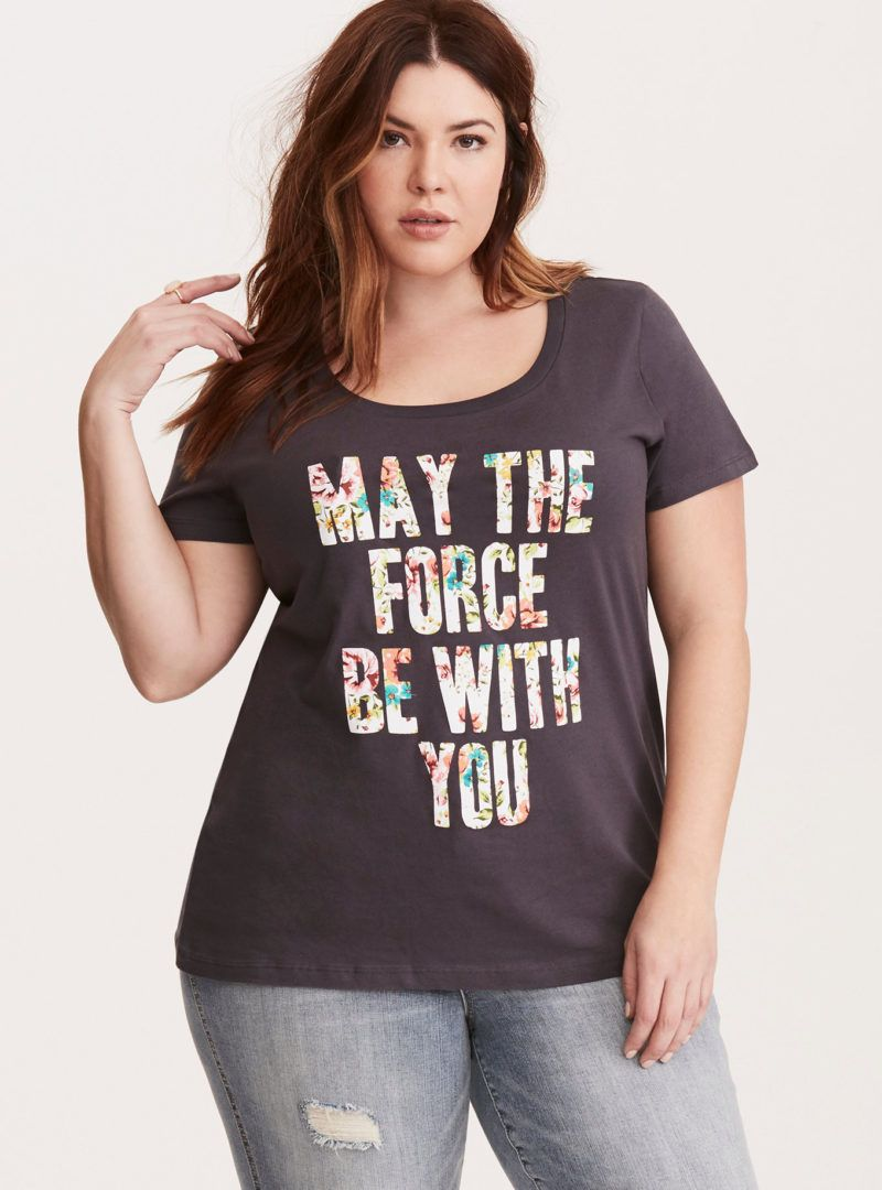 8ecf94151d3 Women s Star Wars Floral May The Force Be With You plus size t-shirt at  Torrid ⭐ Star Wars fashion ⭐ Geek Fashion ⭐ Star Wars Style ⭐ Geek Chic ...