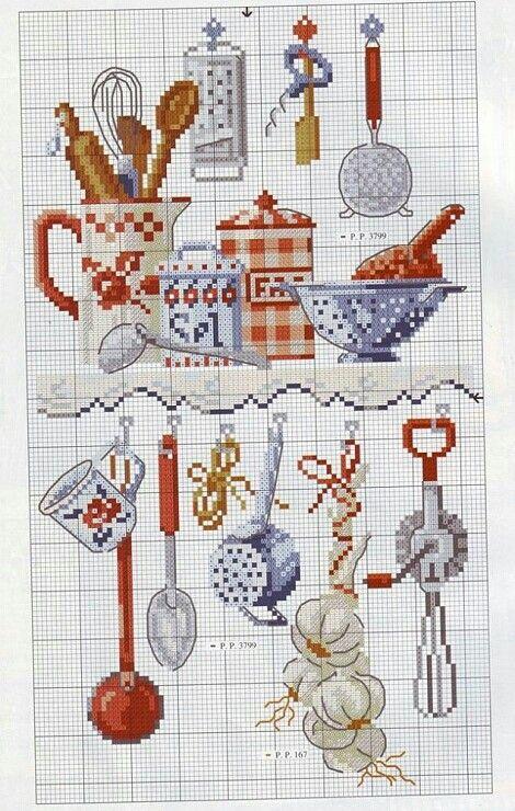 Utensilios cocina   bordado   Pinterest   Utensilios, Punto de cruz ...