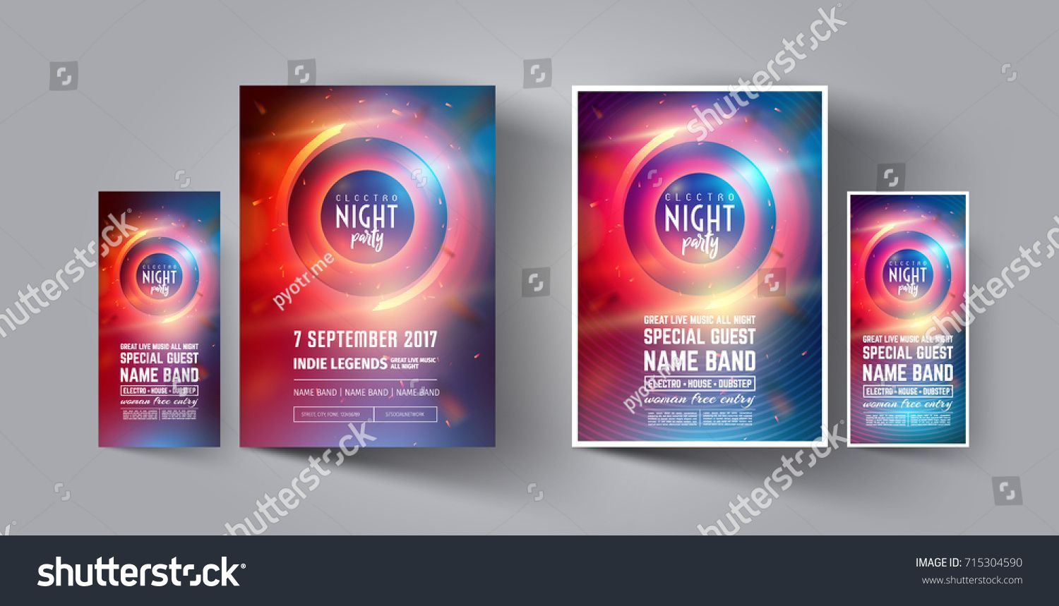 Night Club Party Flyer Or Poster Layout Template Musical Electro