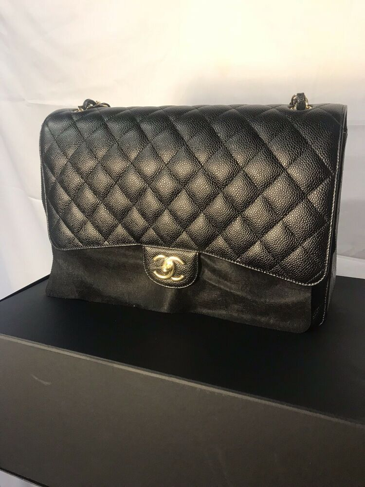 75a4a6a2a1e091 New Authentic Chanel Classic Maxi Double Flap Black Caviar Leather Gold  Hardware