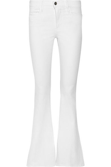 White stretch-denim Button and concealed zip fastening at front 94% cotton, 5% polyester, 1% Lycra Machine wash inside out to avoid color transfer