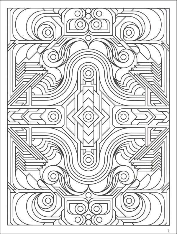 Difficult Geometric Design Coloring Pages  Deco Tech Geometric