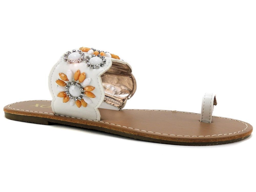 63a04a480a23 XOXO Women s Rio Embellished Toe Loop Dress Sandals White Floral Size 7.5  (B
